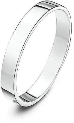 Theia Unisex 9 ct White Gold, Super Heavy Flat Shape, Polished, 3 mm Wedding Ring - Size K