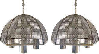One Kings Lane Vintage Laurel Chrome Mesh Hanging Lights - Set of 2