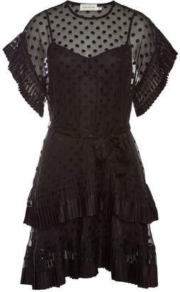 Zimmermann Pleated Tier Printed Chiffon Smock Dress