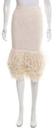 Rosetta Getty Fringe-Trimmed Silk Skirt w/ Tags