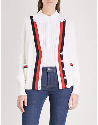 Claudie Pierlot Contrast-trim wool cardigan