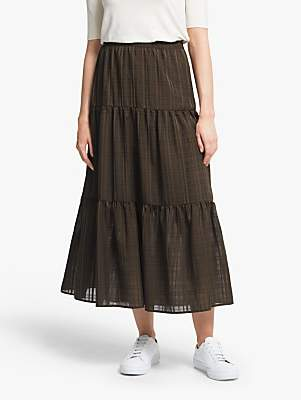 Vero Moda AWARE BY Tiered Ankle Length Skirt, Coffee Bean