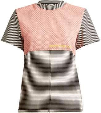 Eckhaus Latta Round-neck striped cotton-blend T-shirt