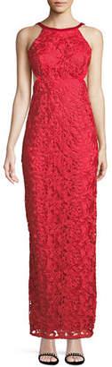 Aidan Mattox Cutout-Back Lace Halter Gown