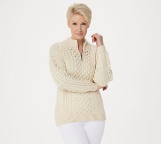 Kilronan Merino Wool Unisex Half-Zip Pullover Sweater