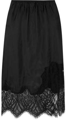 Helmut Lang Lace-trimmed Satin Midi Skirt - Black