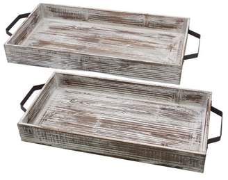 STONEBRIAR COLLECTION Decorative Nesting White Wash Serving Tray Set with Handles