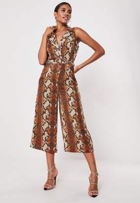 8f50209189 Missguided Orange Snake Sleeveless Blazer Jumpsuit