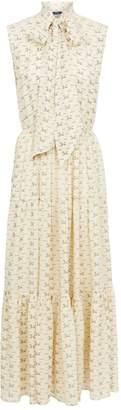Polo Ralph Lauren Silk Pussybow Maxi Dress