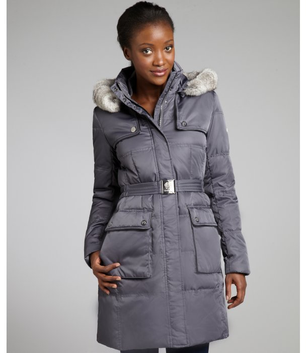 Vince Camuto smoke down filled rabbit fur trimmed hooded coat