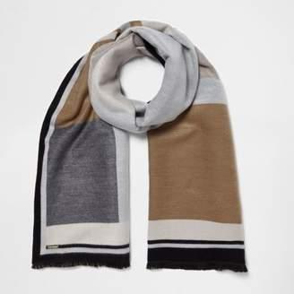 River Island Womens Cream and grey blocked blanket scarf