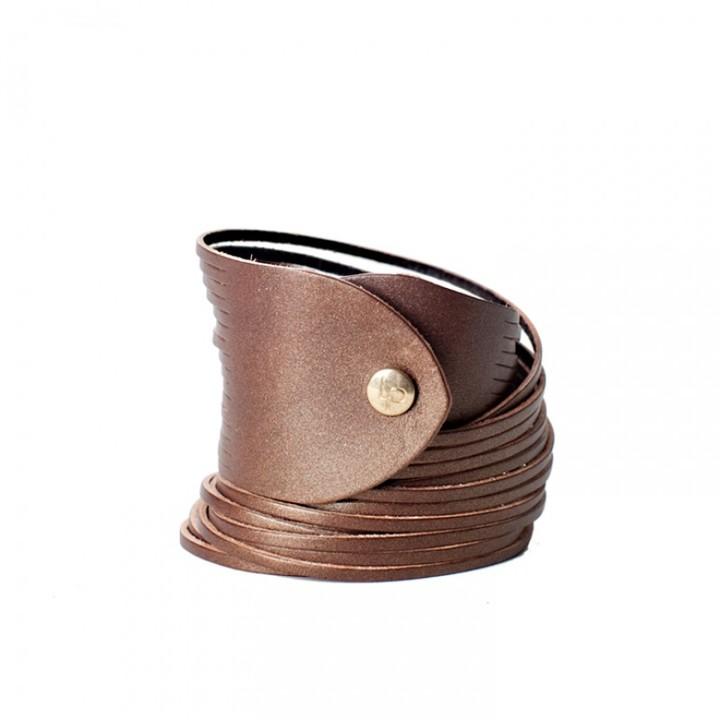 Linea Pelle Double Wrap Sliced Leather Bracelet