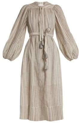Zimmermann Helm Striped Cotton And Linen Blend Dress - Womens - Blue Multi