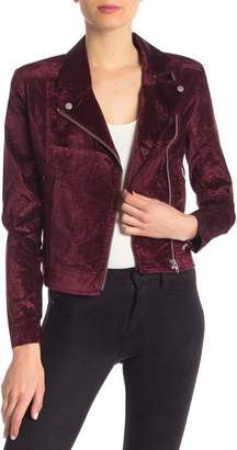 Level 99 Ruby Velvet Moto Jacket