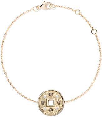 De Beers 18kt yellow gold Talisman Lucky coin diamond bracelet
