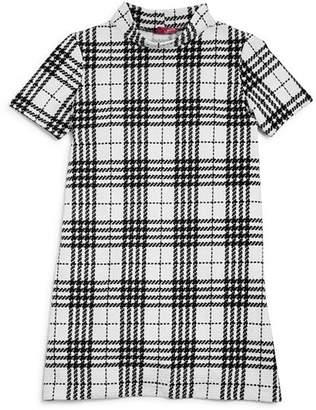 Aqua Girls' Textured Plaid Shift Dress, Big Kid - 100% Exclusive
