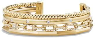 David Yurman Stax Medium Cuff Bracelet with Diamonds in 18K Gold