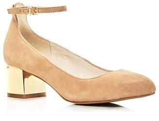Kenneth Cole Thalia Ankle Strap Metallic Block Heel Pumps $140 thestylecure.com