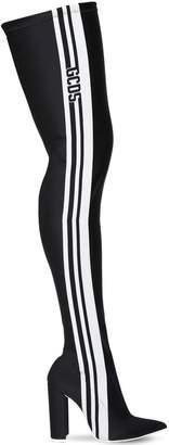 110mm Stripe Lycra Thigh High Boots