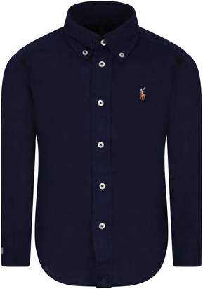 Ralph Lauren Blue Boy Shirt With Colorful Iconic Pony