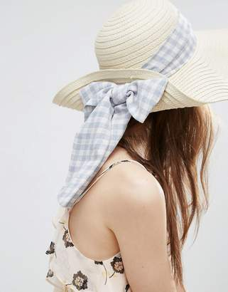 ASOS Floppy Straw Hat With Gingham Band $26 thestylecure.com