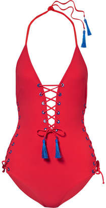 Emma Pake - Carlotta Tasseled Lace-up Swimsuit - Red