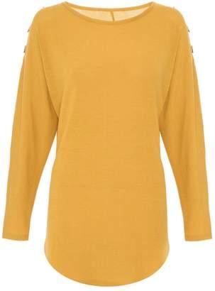 Quiz Mustard Eyelet Light Knit Top