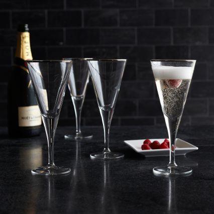 Sur La Table Platinum-Rimmed Champagne Flutes, Set of 4
