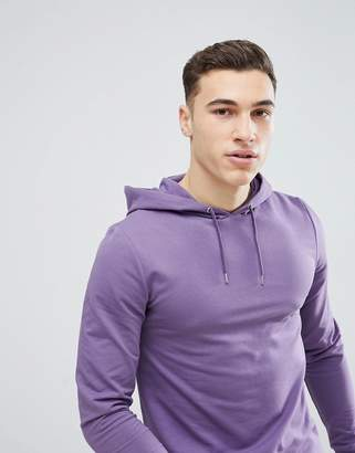 Asos DESIGN Longline Muscle Hoodie With Curved Hem In Purple