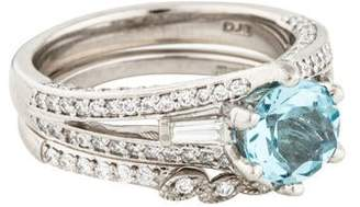 Ring Platinum Aquamarine & Diamond Cocktail Set