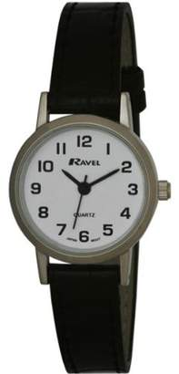 Ravel Large Case Fashion on PU Strap Women's Quartz Watch with White Dial Analogue Display and Black Plastic Strap R0102.02.2
