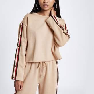 River Island Womens Petite beige tape popper side sweatshirt