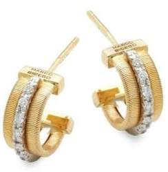 Marco Bicego Goa Diamond, 18K White Gold and 18K Yellow Gold Engraved Earrings