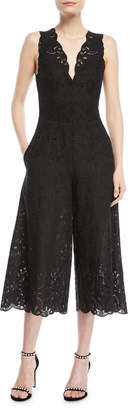 Jonathan Simkhai V-Neck Sleeveless Scallop Lace Wide-Leg Jumpsuit