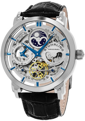 Stuhrling Men's Elite Anatol Skeleton Dual Time Alligator Embossed Watch $179.97 thestylecure.com