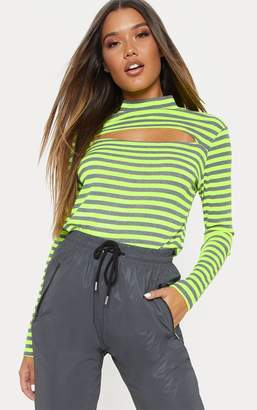 PrettyLittleThing Neon Lime Neon Stripe Cut Out Long Sleeve Top