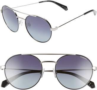 Polaroid 55mm Polarized Round Aviator Sunglasses