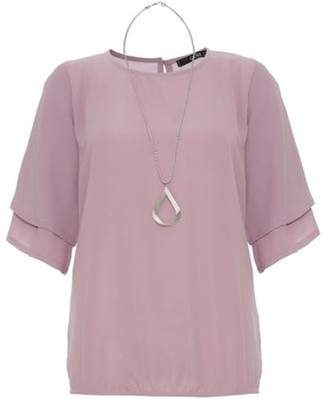 Dorothy Perkins Womens *Quiz Lilac Double Sleeve Top