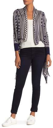 Papillon Open Front Fringed Print Cardigan