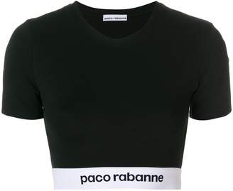 Paco Rabanne logo print cropped t-shirt