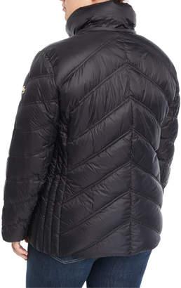 Herman Kay Short Hooded Zip-Front Packable Jacket, Plus Size