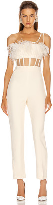 David Koma One Strap Feather Corset Jumpsuit in Ivory | FWRD