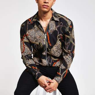River Island Mens Black printed zip shirt