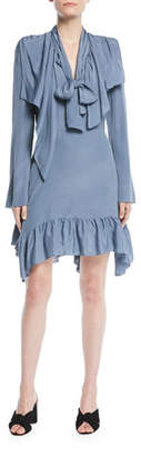 See by Chloe Ruffle Tie-Neck Long-Sleeve Short Dress