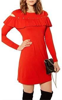 Karen Millen Frill And Stud Knitted Dress