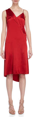 Cédric Charlier Satin Asymmetrical Shift Dress
