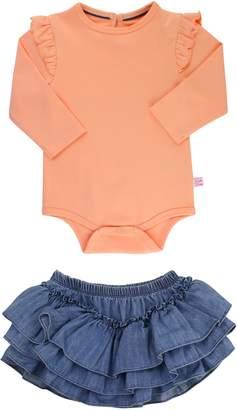 RuffleButts Apricot Bodysuit & Skirted Bloomers Set