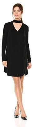 Michael Stars Women's Rylie Rayon Long Sleeve Mixed Media Choker Swing Dress