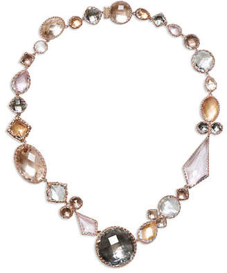 Larkspur & Hawk Sadie Medallion Riviere Necklace in Multi-Peach Foil