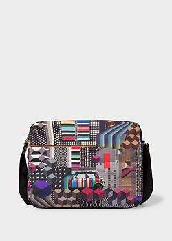 Paul Smith Men's 'Geometric Mini' Print Canvas Messenger Bag